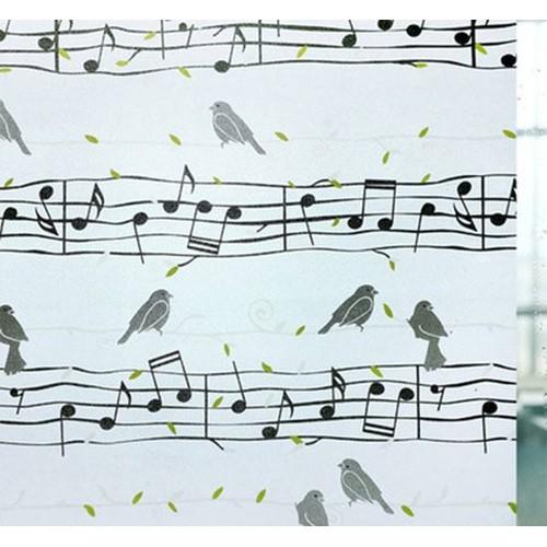 Giấy dán kính chim sơn ca nốt nhạc