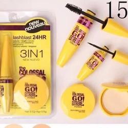 Combo makeup  3 in 1 gồm  Mascara  kẻ mắt nước  phấn phủ