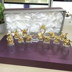 Bộ Ly 12 con Giáp Mạ Vàng, quà tặng tết