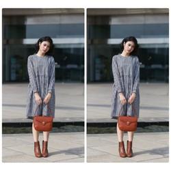 Đầm suông caro tay dài đơn giản