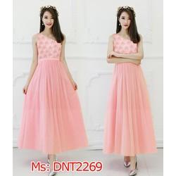 Đầm maxi phối ren hoa hồng lệch vai xinh xắn