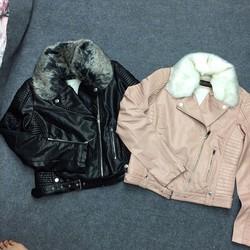 Áo khoác da cổ lông chất đẹp độc Hàng Quảng Châu