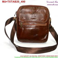Túi đeo da ipad 7 galaxy tab phối khóa kéo màu nâu sành điệu TXTAB20