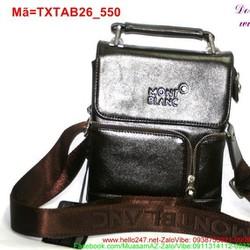 Túi đeo da ipad 7 galaxy tab phối khóa kéo màu nâu sành điệu TXTAB26