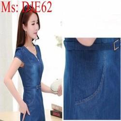 Đầm jean nữ công sở ôm dáng đẹp chất liệu jean cao cấp DJE62