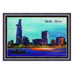 Tranh Phong Cảnh Vẽ Tay Sài Gòn Về Đêm