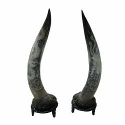 Cặp Sừng Bò Châu Phi Khắc Long Phụng