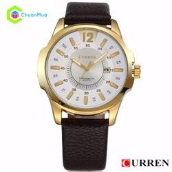 Đồng hồ Nam Curren 8123 - Viền vàng mặt trắng