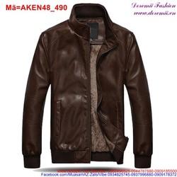 Áo khoác da nam lót lông êm ái sành điệu AKEN48
