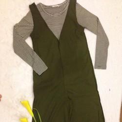 Bộ quần yếm kết hợp áo sọc ngang tay dài thun mát Hàn Quốc FS3