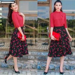 Set áo voan và chân váy cherry ngọt ngào