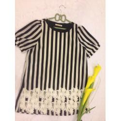 Đầm Hàn Quốc sọc dọc trắng đen suông - ĐB016