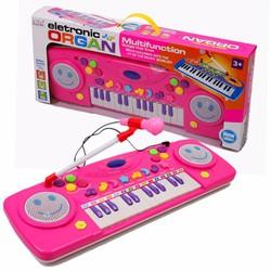 Đàn Organ điện tử kèm Micro cho bé yêu phát triển trí não Hồng