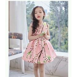 thời trang bé gái đầm hoa đào đẹp
