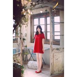 Đầm đỏ suông tay nơ