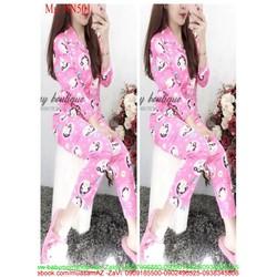 Đồ bộ nữ mặc nhà pyjama tay dài hình NN501