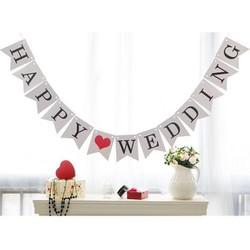 Dây cờ cưới chữ Happy wedding trắng