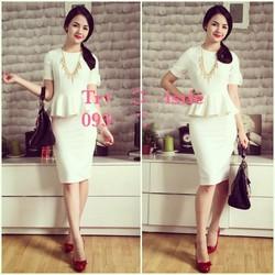 Set áo peplum chân váy ôm màu trắng D018