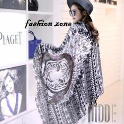 khăn choàng cotton in họa tiết đầu hổ