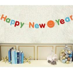 Dây cờ chữ Happy new year nhiều màu sắc