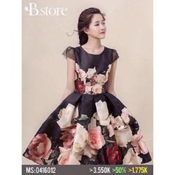 Đầm xoè tay con in hoa hồng siêu hit hot