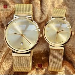 Đồng hồ cặp Dây Thép Không Rỉ  siêu mỏng Vàng - CHỐNG NƯỚC