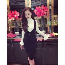 set áo thun tay loe váy yếm xinh iu