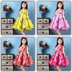 Đầm kiểu công chúa chất phi in hoa dễ thương size nhí NX885