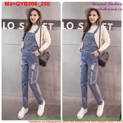Quần yếm jean dài nữ rách tinh nghịch trẻ trung QYB206