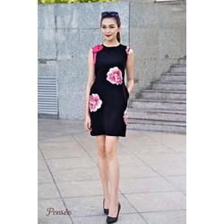 Đầm suông in hoa hồng vai nơ siêu dễ thương