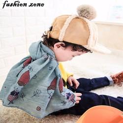 khăn choàng cotton siêu mềm mại cho bé họa tiết hoạt hình năng động