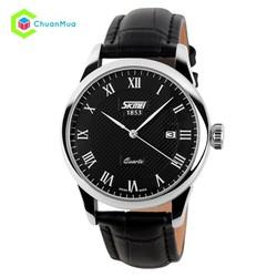 Đồng hồ nam dây da Skmei 9058 – Đen mặt đen