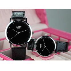 Đồng hồ đôi Nary dây da đen