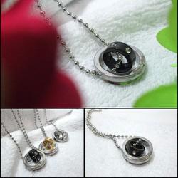 Dây chuyền inox 2 chiếc nhẫn lồng màu đen - MĐ052
