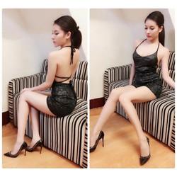 Đầm body nhũ kim tuyến hở lưng sexy