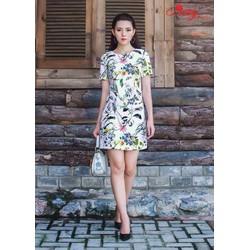 Đầm suông in hoa 3D cao cấp
