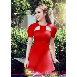 Đầm xòe tay con thiết kế khoét vai màu đỏ nổi bật DXV120