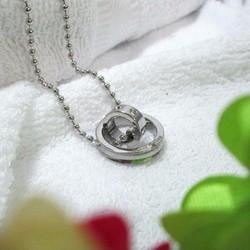 Dây chuyền inox 2 chiếc nhẫn lồng màu trắng - MĐ054