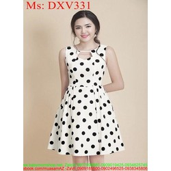 Đầm xòe cổ cách điệu chấm bi đen cá tính trẻ trung DXV331