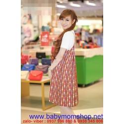 Đầm bầu Hàn Quốc hình mèo nhỏ xinh kèm áo thun DB274