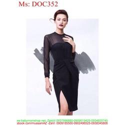 Đầm body đen xẻ đùi và phối lưới sành điệu sang trọng DOC352