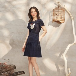 Đầm Xanh Nany Thêu Gà Con Viền Cổ - AD160033