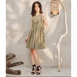 Đầm Baby Doll Thêu Gà Cổ Viền - AD160029