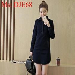 Đầm jean nữ công sở dài tay thiết kế đơn giản thời trang DJE68