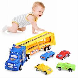 Mô hình đồ chơi xe tải container chở ô tô con ngộ nghĩnh