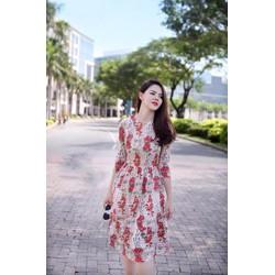 Đầm Xòe Ren Thêu Hoa Cao Cấp, Sang Trọng