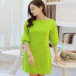 Đầm suông công sở xanh lá cây