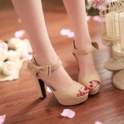Giày cao gót hở mũi đính nơ