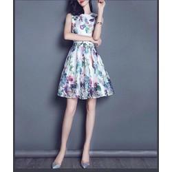 Đầm suông  tay  con  in  hoa  lá - HM255