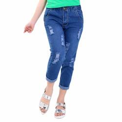 Quần baggy jeans lưng thun xanh nhạt